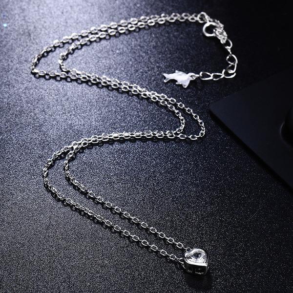 Unique Zircon de argent avec Zircon de Dames Collier de mode (Vendu dans une seule pièce)