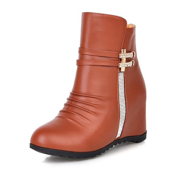 Mulheres Couro PU Plataforma Calços Botas sapatos