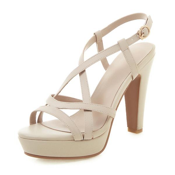 Vrouwen Patent Leather Chunky Heel Sandalen Pumps Plateau Peep Toe met Hol-out schoenen