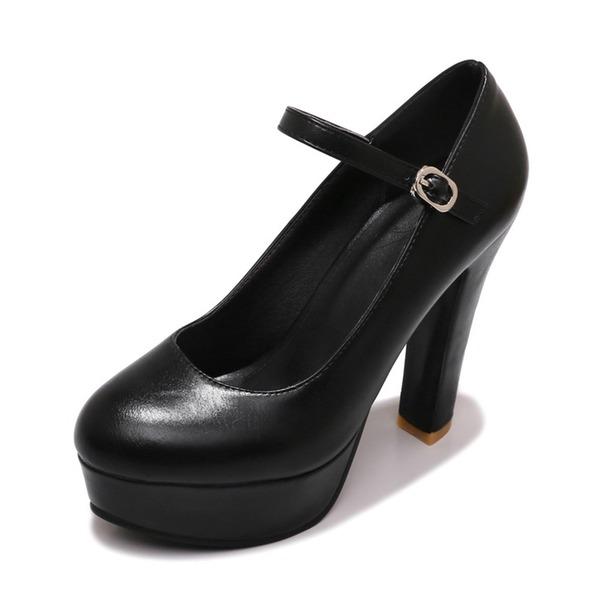 Donna Similpelle Tacco a spillo Stiletto Piattaforma Punta chiusa con Fibbia scarpe