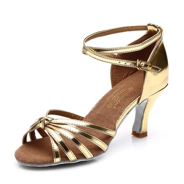 De mujer Satén Cuero Tacones Sandalias Danza latina con Tira de tobillo Agujereado Zapatos de danza