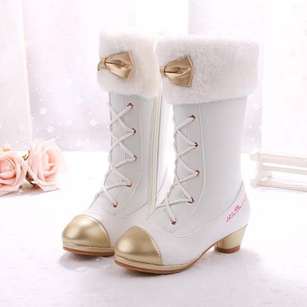 Pigens Lukket Tå Microfiber Læder lav Hæl Støvler Flower Girl Shoes med Bowknot Blondér Crystal