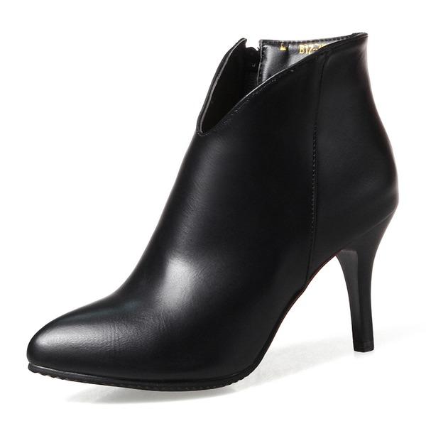 Donna Similpelle Tacco a spillo Punta chiusa Stivali Stivali alla caviglia con Cerniera scarpe