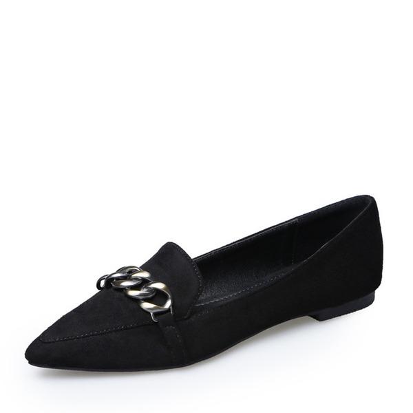 Frauen Veloursleder Flascher Absatz Flache Schuhe Geschlossene Zehe mit Kette Schuhe