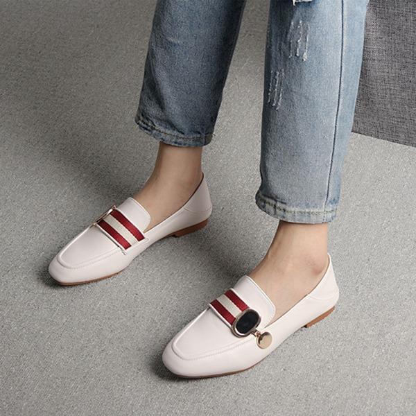 Frauen PU Flascher Absatz Flache Schuhe Geschlossene Zehe mit Geflochtenes Band Schuhe