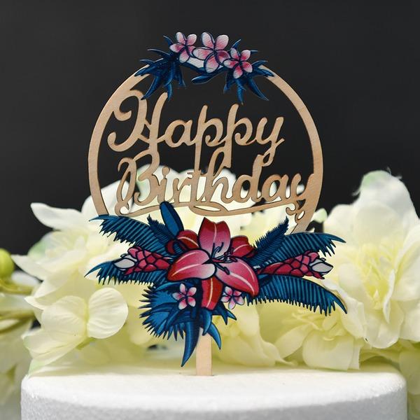 Une fleur/Joyeux anniversaire Bois Décoration pour gâteaux (Vendu dans une seule pièce)