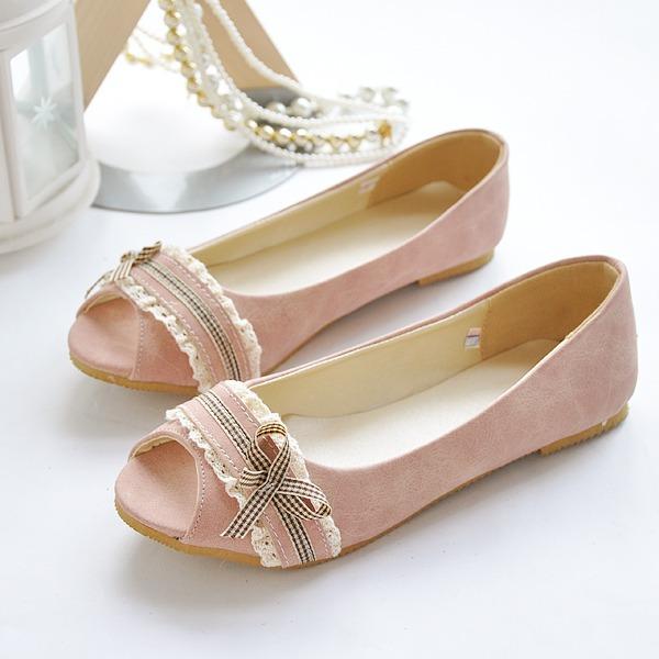 Женщины кожа Плоский каблук Сандалии На плокой подошве Открытый мыс с бантом обувь