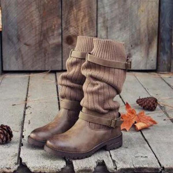 Kvinner Lær Lav Hæl Lukket Tå Støvler Mid Leggen Støvler Martin Boots med Spenne Delt Bindeled sko