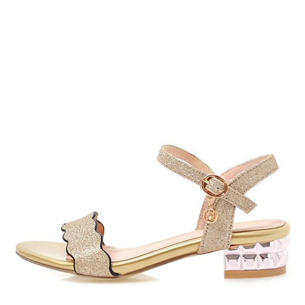 Donna Glitter scintillanti Tacco basso Sandalo Punta aperta con Fibbia scarpe