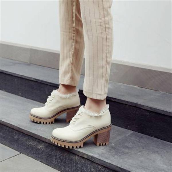 Женщины PU Устойчивый каблук На каблуках с Шнуровка обувь
