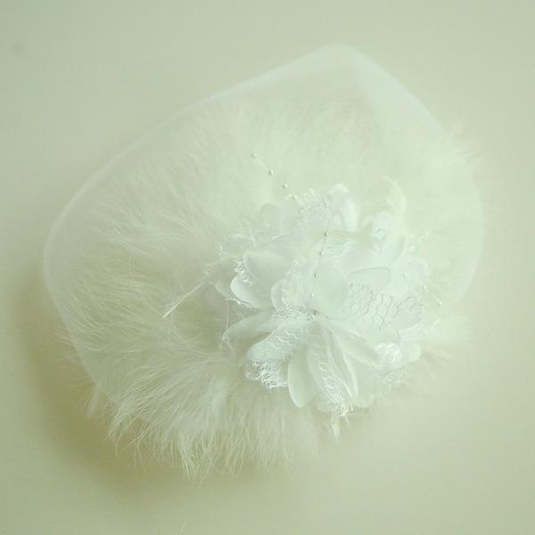 Damer Vackra Och Netto garn/Fjäder/Siden blomma Panna smycken