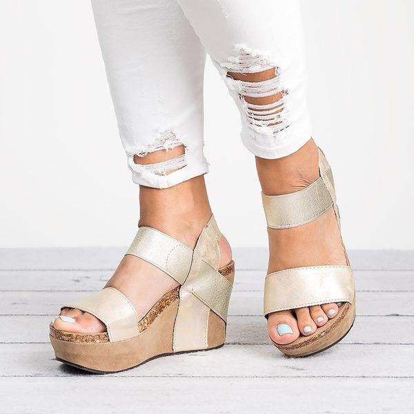 Donna PU Zeppe Sandalo Zeppe con Animale Stampa scarpe