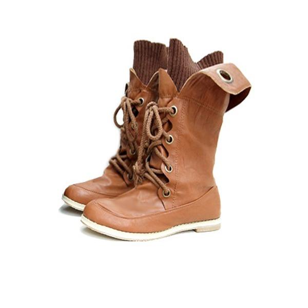 Keinonahasta Matalakorkoiset Heel Mid-calf saappaat Ratsastussaappaat jossa Nauhakenkä kengät