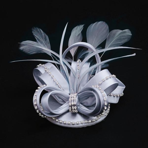 Dames Mode Tissu avec Feather/Strass Disquettes Chapeau/Chapeaux Tea Party