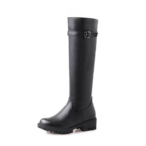 Naisten PU Matala heel Platform Kengät Knee saappaat jossa Solki Vetoketju kengät