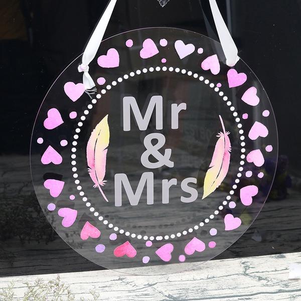 """Klassisk stil/Härlig/""""Mr & Mrs"""" Rund Akryl (Set av 2)"""