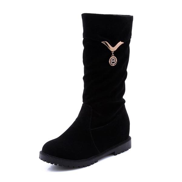 Donna Camoscio Tacco basso Punta chiusa Stivali con Fibbia scarpe