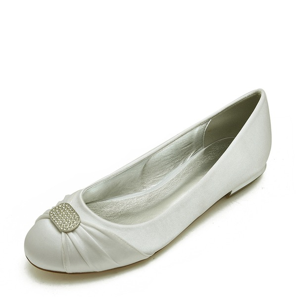 Women's Leatherette Flat Heel Closed Toe Flats With Ribbon Tie Crystal