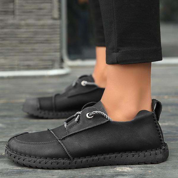 Мужская кожа шнуровка вскользь Men's Loafers
