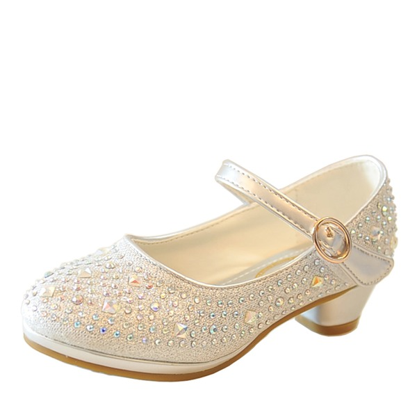 Jentas Round Toe Leather lav Heel Flower Girl Shoes med Spenne