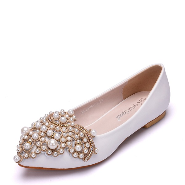 Kvinner Lær Flat Hæl Lukket Tå Flate sko med Imitert Perle Rhinestone