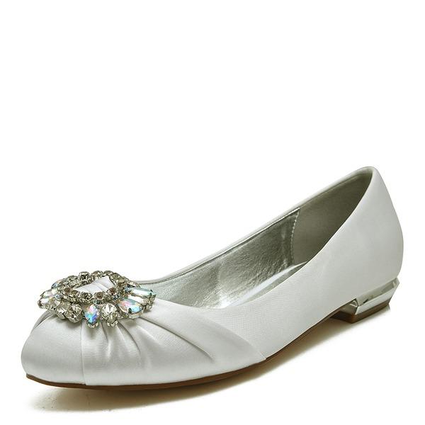 Vrouwen Satijn Flat Heel Closed Toe Flats Sandalen met Kristal