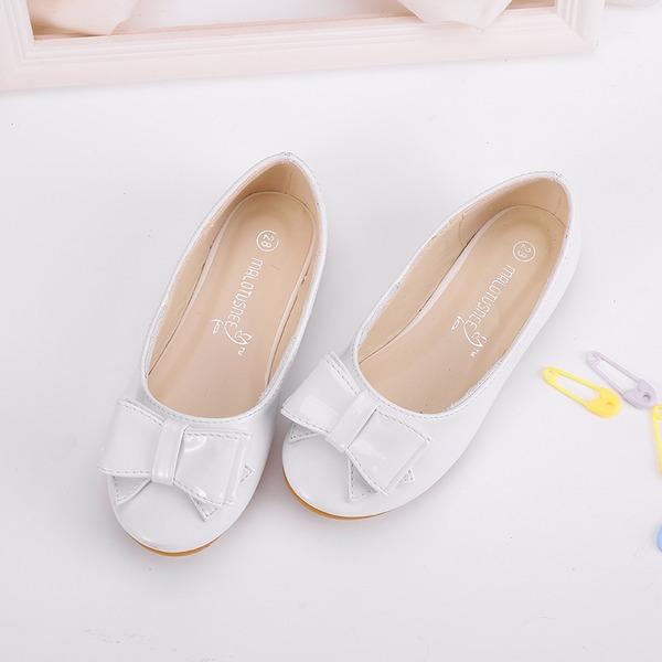 Girl's Ronde neus Closed Toe Microfiber leer Flat Heel Flats Bloemenmeisje schoenen met strik