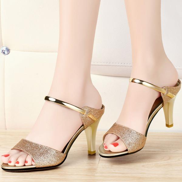 Women's Sparkling Glitter Stiletto Heel Peep Toe Sandals Slingbacks