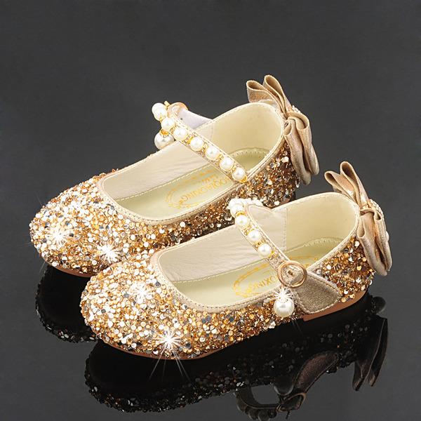 девичий Круглый носок игристые Блеск Обувь для девочек с бантом хрусталь жемчуг