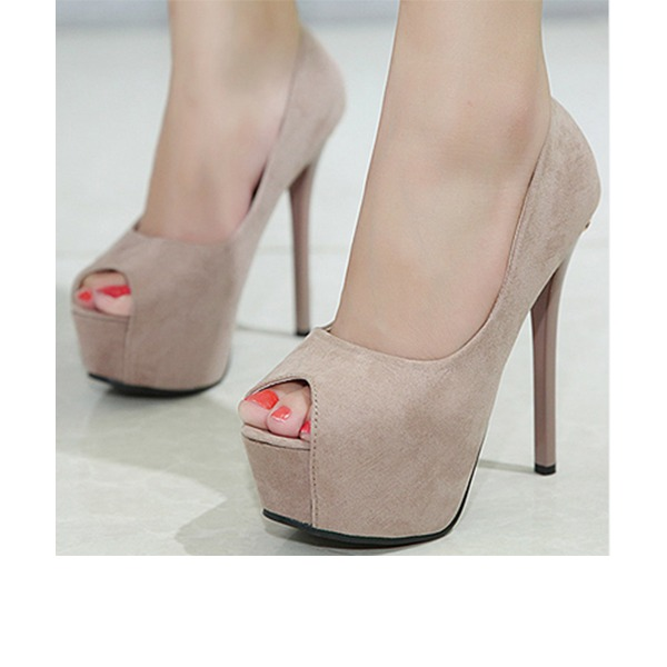 Women's Suede Stiletto Heel Pumps Platform Peep Toe With Others shoes