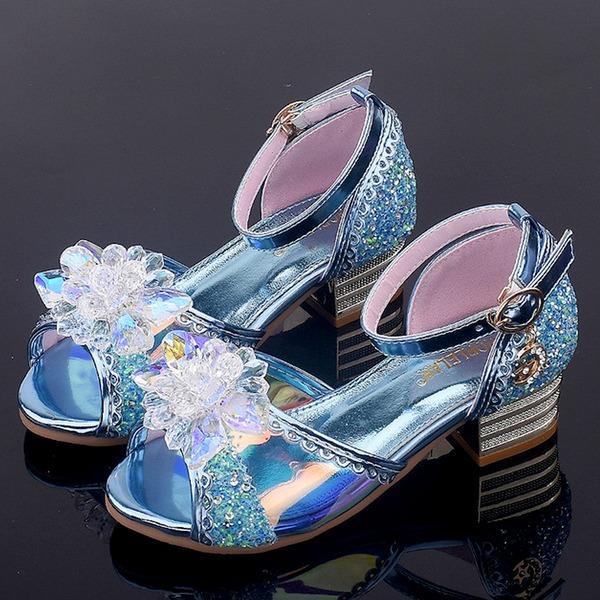 девичий Открытый мыс дерматин низкий каблук Сандалии Обувь для девочек с пряжка Цветок хрусталь