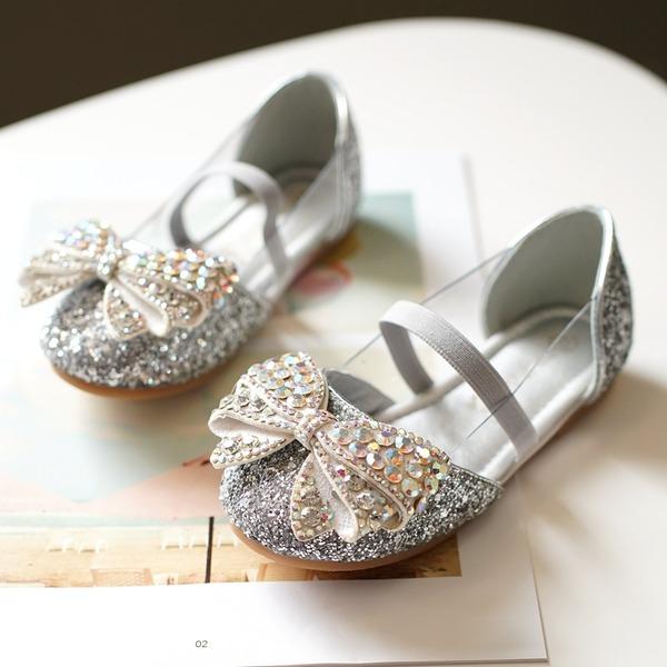 Fille de bout rond Bout fermé Glitter mousseux talon plat Chaussures plates avec Bowknot Bande élastique