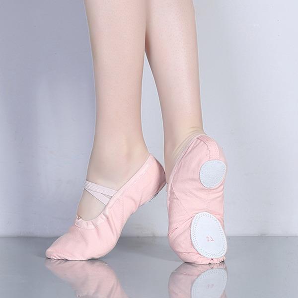Mulheres Lona Sem salto Balé Sapatos de dança