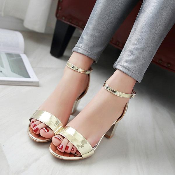 Donna Similpelle Tacco spesso Sandalo Stiletto Punta aperta con Fibbia scarpe