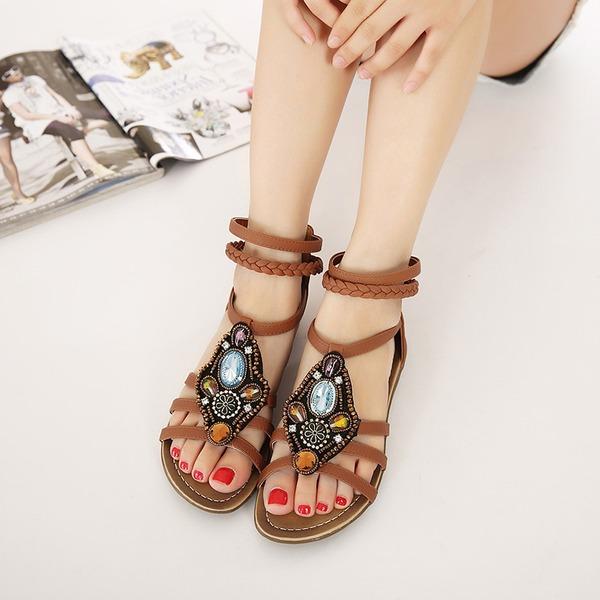 Vrouwen Kunstleer Flat Heel Sandalen met Strass schoenen