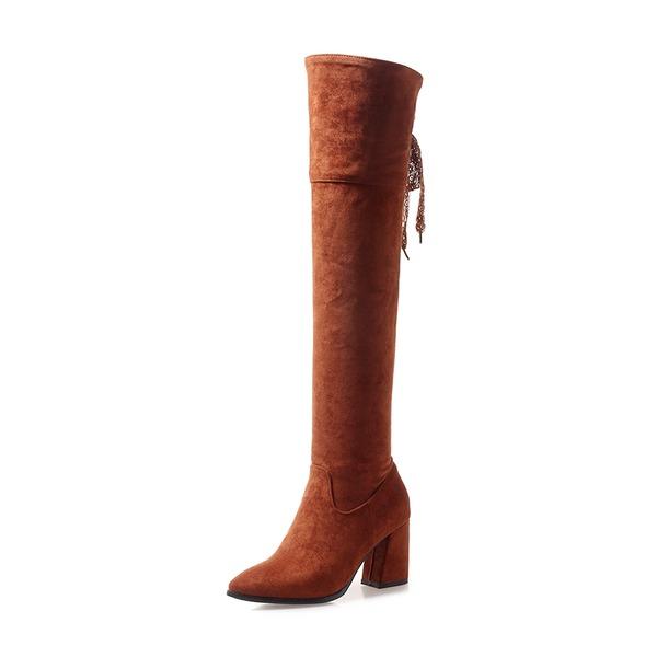 Femmes Suède Talon bottier Bottes avec Dentelle chaussures