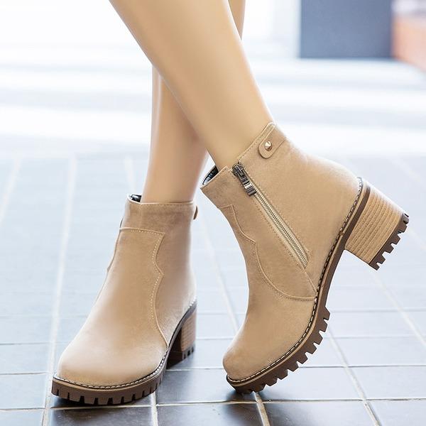 Mulheres Camurça Salto robusto Bombas Botas Bota no tornozelo com Zíper sapatos