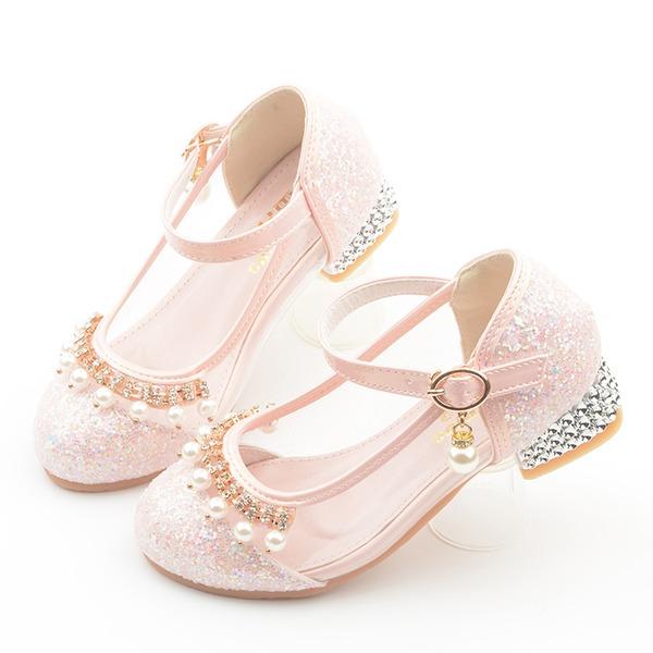 Flicka rund tå Stängt Toe konstläder Flower Girl Shoes