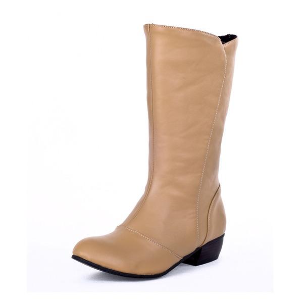 Kadın Suni deri Alçak Topuk Kapalı Toe Bot Mid-Buzağı Boots ayakkabı