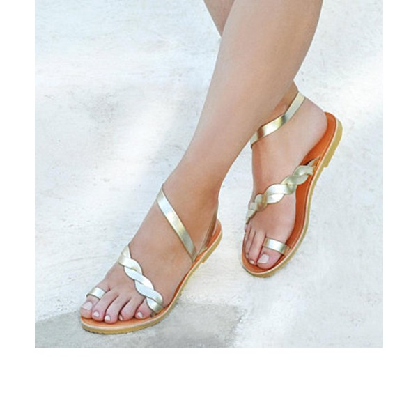 Women's Leatherette Flat Heel Sandals Flats With Hollow-out shoes