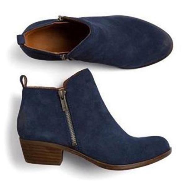 De mujer Cuero Tacón ancho Botas con Cremallera zapatos