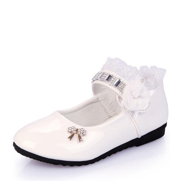 Jentas Lukket Tå Leather flat Heel Flate sko med Bowknot Rhinestone Sateng Sløyfe Ruched