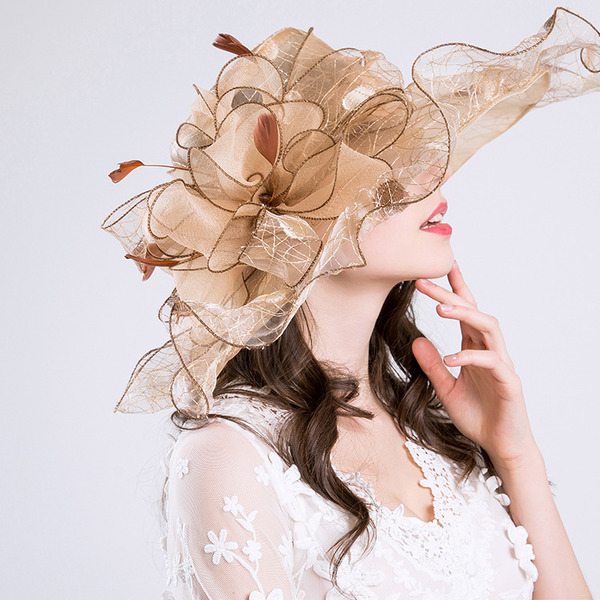Ladies' Hottest/Romantic Net Yarn With Feather Beach/Sun Hats/Kentucky Derby Hats/Tea Party Hats