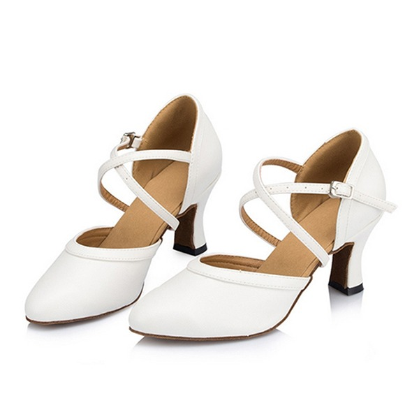 Women's Leatherette Sandals Ballroom With Ankle Strap Dance Shoes