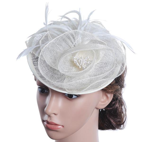 Dames Beau/Magnifique/Charmant/Mode/Élégante/Unique/Exquis Lin avec Feather/Une fleur Chapeaux de type fascinator