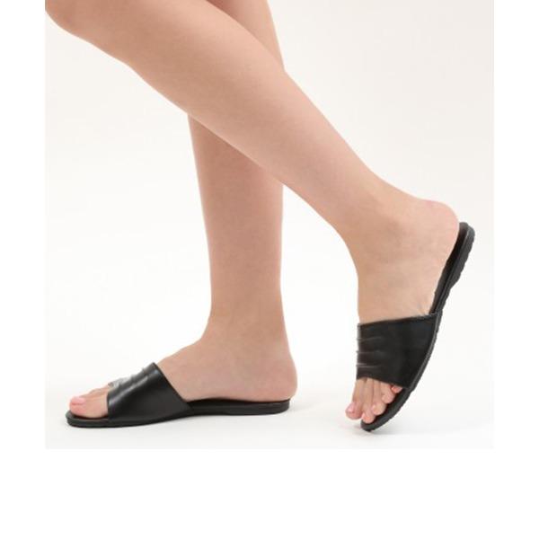 Kvinder PU Flad Hæl sandaler Fladsko Kigge Tå Slingbacks med Andre sko