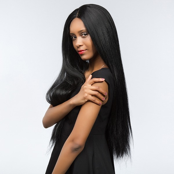4A Non remy Yaki Straight Human Hair Lace Front Wigs 190g