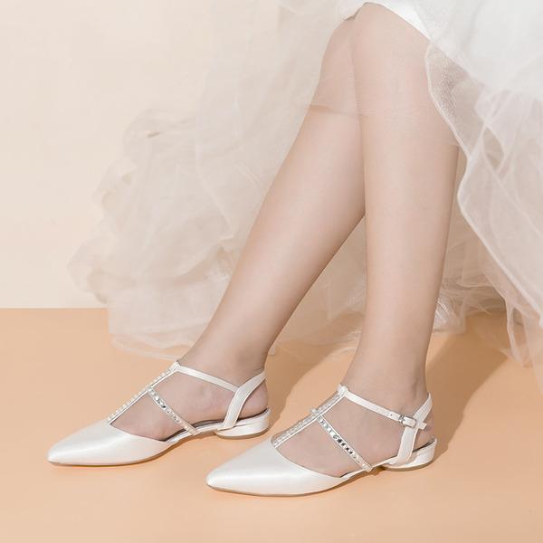 Women's Satin Fabric Flat Heel Flats With Buckle Rhinestone