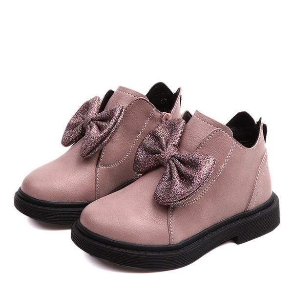 Jentas Round Toe Lukket Tå Ankelstøvler Leather flat Heel Flate sko Støvler Flower Girl Shoes med Bowknot Glidelås