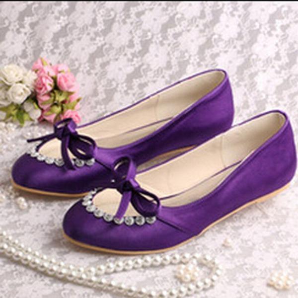 Femmes Soie comme du satin Talon plat Chaussures plates avec Strass